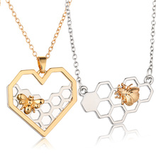 X P Charm Fashion Silver font b Necklaces b font for Women Girl Heart Honeycomb Bee