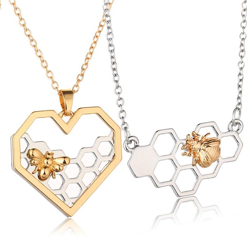X & p очаровательные модные Серебряные ожерелья для Для женщин девушка сердце соты пчел животного кулон колье Цепочки и ожерелья Jewelry Выходные туфли на выпускной бал подарок