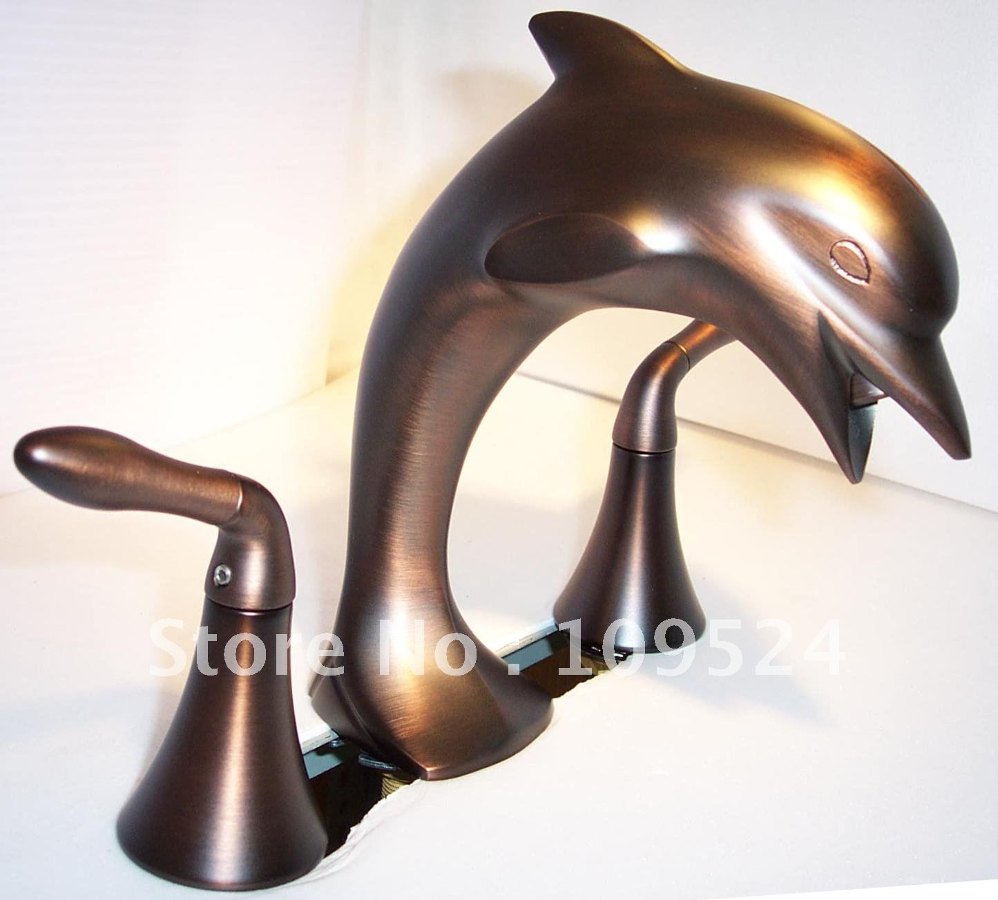 Free shipping oil rubbed bronze dolphin faucet 3pcs dolphin baisn faucet double handles faucet - Dolphin faucet ...
