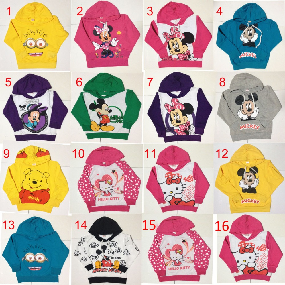 Children sweatshirt kids Long sleeves top wear cartoon vigny bear minions pattern clothes boys girls sports suits 16 colors