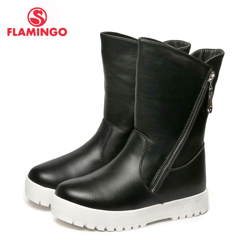 FLAMINGO 2017 new collection winter fashion high boots with wool high quality anti slip kids shoes for girl W6YK031