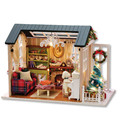 """Holiday times"" DIY Wooden Toy House Miniature 3D Wood Puzzle Dollhouse Miniaturas Furniture House Doll For Birthday Gifts"