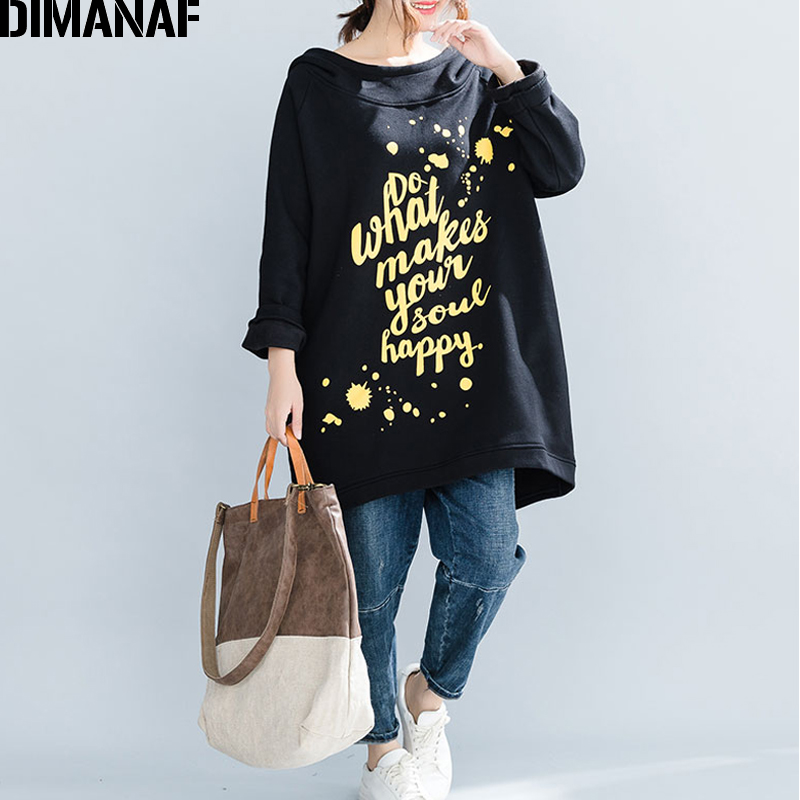 DIMANAF Plus Size Women Hoodies Sweatshirts Winter Knitted Thicken Warm Female Hooded Pullover Tops Loose Long Rrint Letter 2018