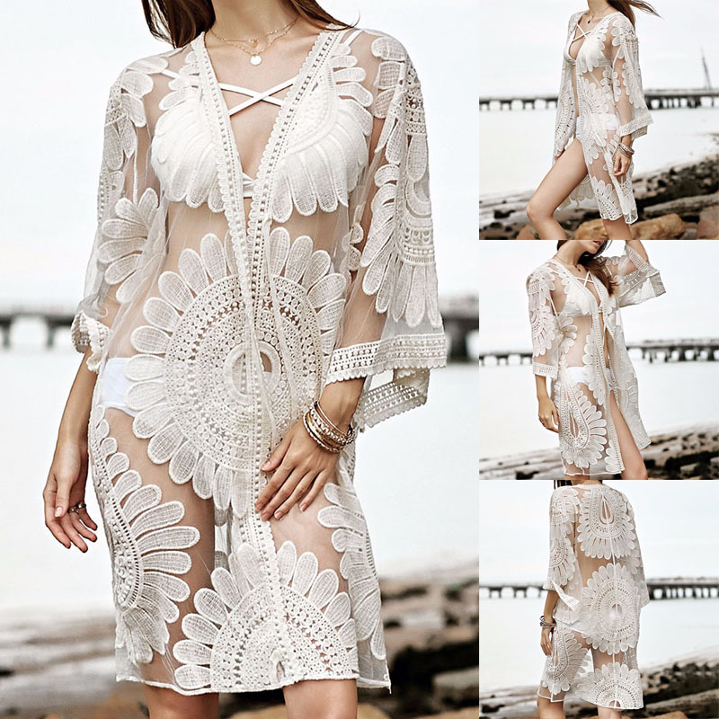 2018 White Beach Cover Up Floral Embroidery Bikini Cover Up Swimwear Women Robe De Plage Beach Cardigan Bathing Suit Cover Ups