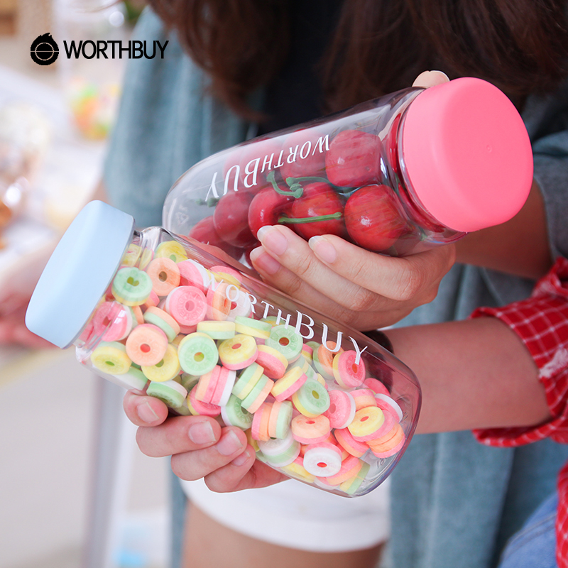 WORTHBUY Candy Color Plastic Kids Water Bottle Leak-Proof Drinkware With Portable Bag For Camping Sports Drinking Bottle