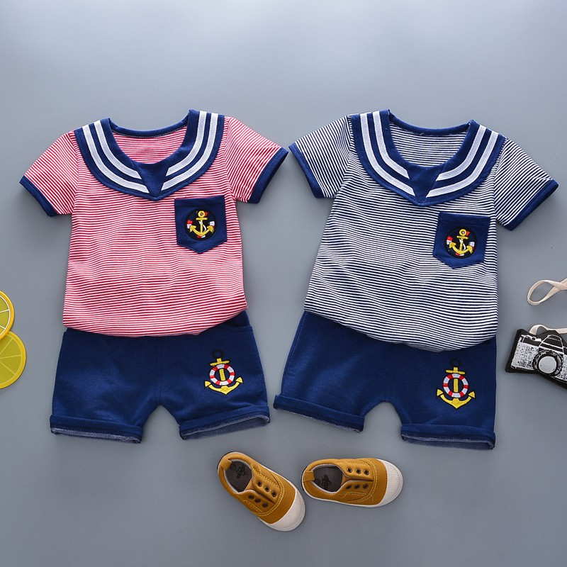 2018 Kid Clothes Set Casual Baby Boy Girl Striped T-shirt+Solid Shorts 2pcs Suit Newborn Navy Style Clothing L1