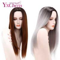 YxCheris Ombre gris perruques pour femmes brun blond cheveux perruques femme résistant à la chaleur Fiber longue femme perruques Halloween Costume