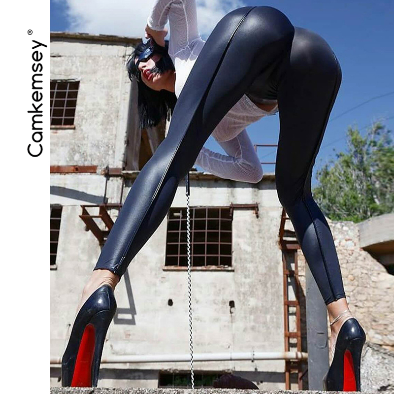 CamKemsey Sexy Push Up Black PU Leather   Pants     Capris   Women Streetwear Striped Patchwork Slim Skinny Leather Pencil   Pants