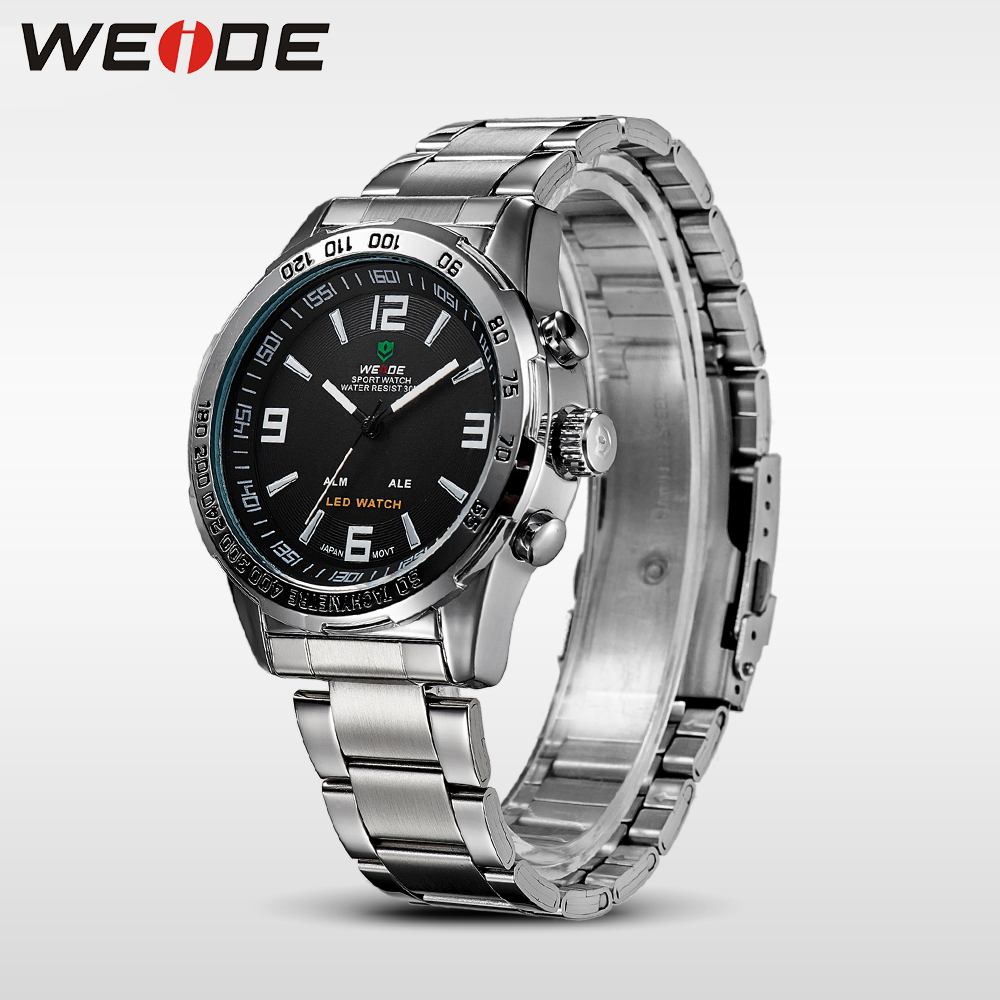 WEIDE 2018 Hommes de Sport Montres De Luxe Quartz LED Numérique Noir Montre-Bracelet Étanche Mâle Horloge Militaire Relogio Masculino