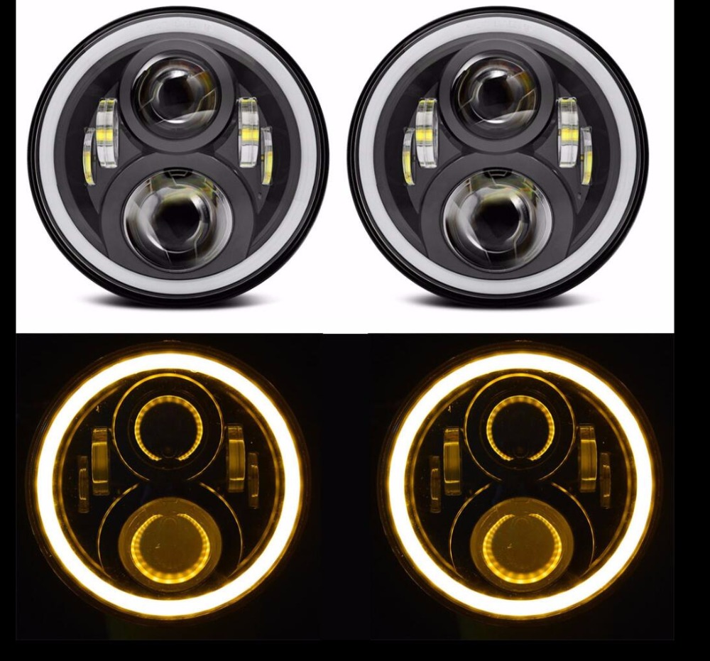 7 inch Headlight Angel eyes white DRL Hi/Lo Beam 7'' Headlight Yellow turning Light LED Headlamp for Jeep Wrangler 2Pcs 2pcs new design 7inch 78w hi lo beam headlamp 7 led headlight for wrangler round 78w led headlights with drl
