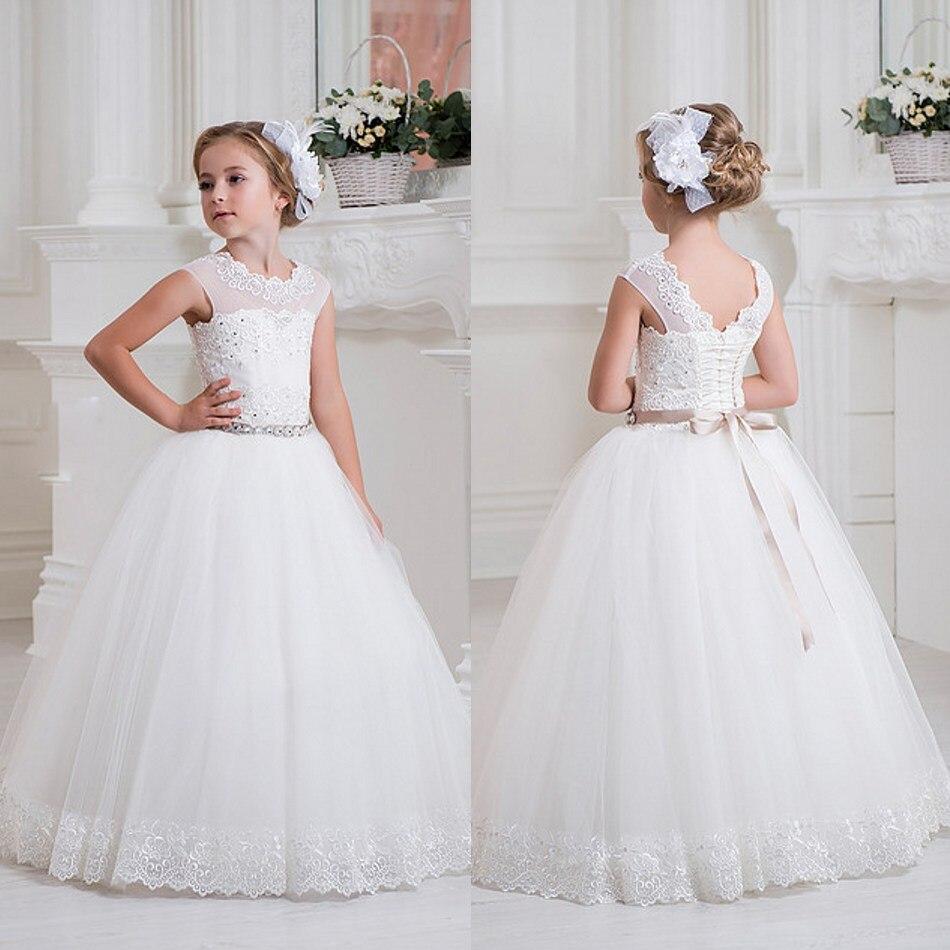 Lovely White Ivory Flower Girl Dresses Lace Up Floor Length ...