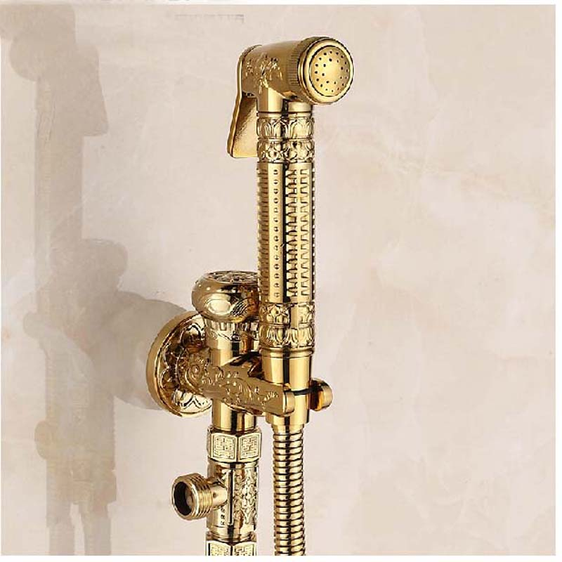 Wholesale And Retail Polished Golden Finish Solid Brass Bidet Faucet Embossed Toilet Sprayer Bathroom Mop Hand Shower Tap цена