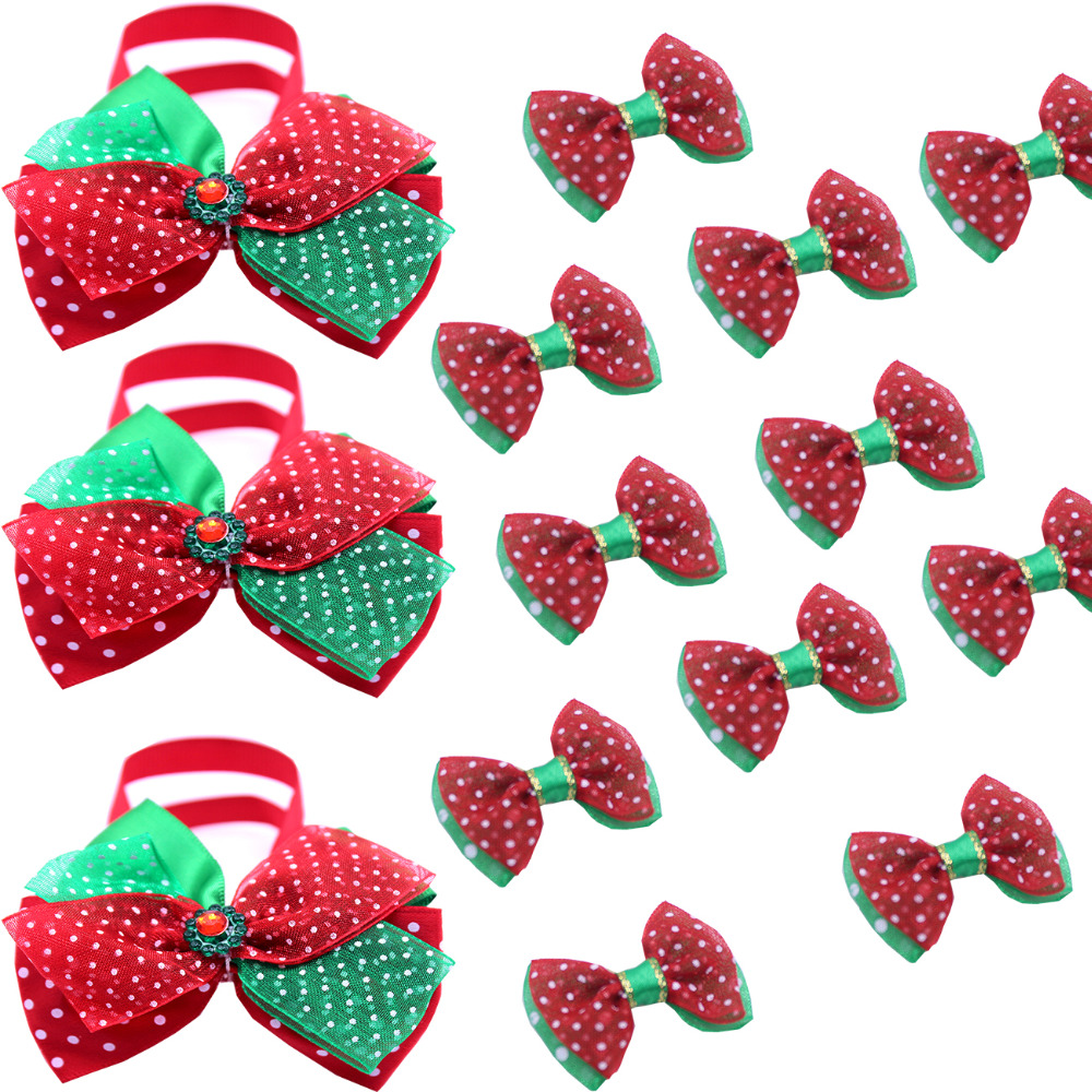 2016 new 40pcs 2style Christmas Hair Bow and bow tie combos Big sale Christmas festival Handmade Pet Dog Grooming accessories