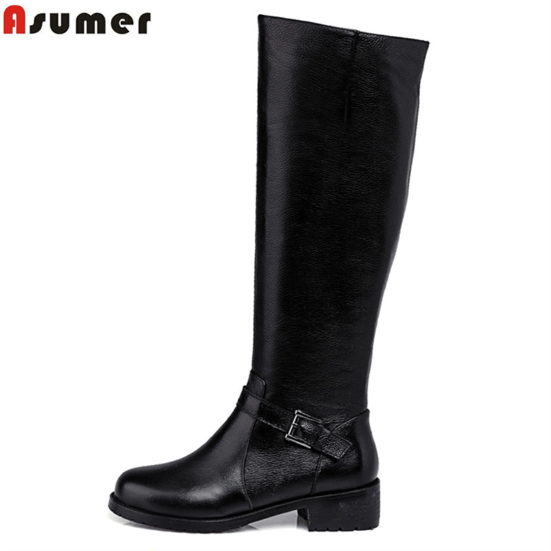 ФОТО Asumer Women boots pu+genuine leather boots high quality soft leather buckle decoration high knee boots women fashion shoes