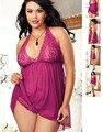 Mulheres Sexy Lingerie Babydolls Pijamas Chemise G-string Conjunto de Lingerie Plus Size M XXL XXXL Vestido Roxo Sexy Roupa de Dormir Lingerie