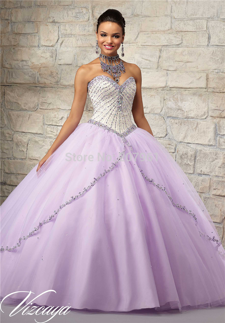 2016 Newest Lavender Quinceanera Dresses Ball Gowns Beaded Organza ...