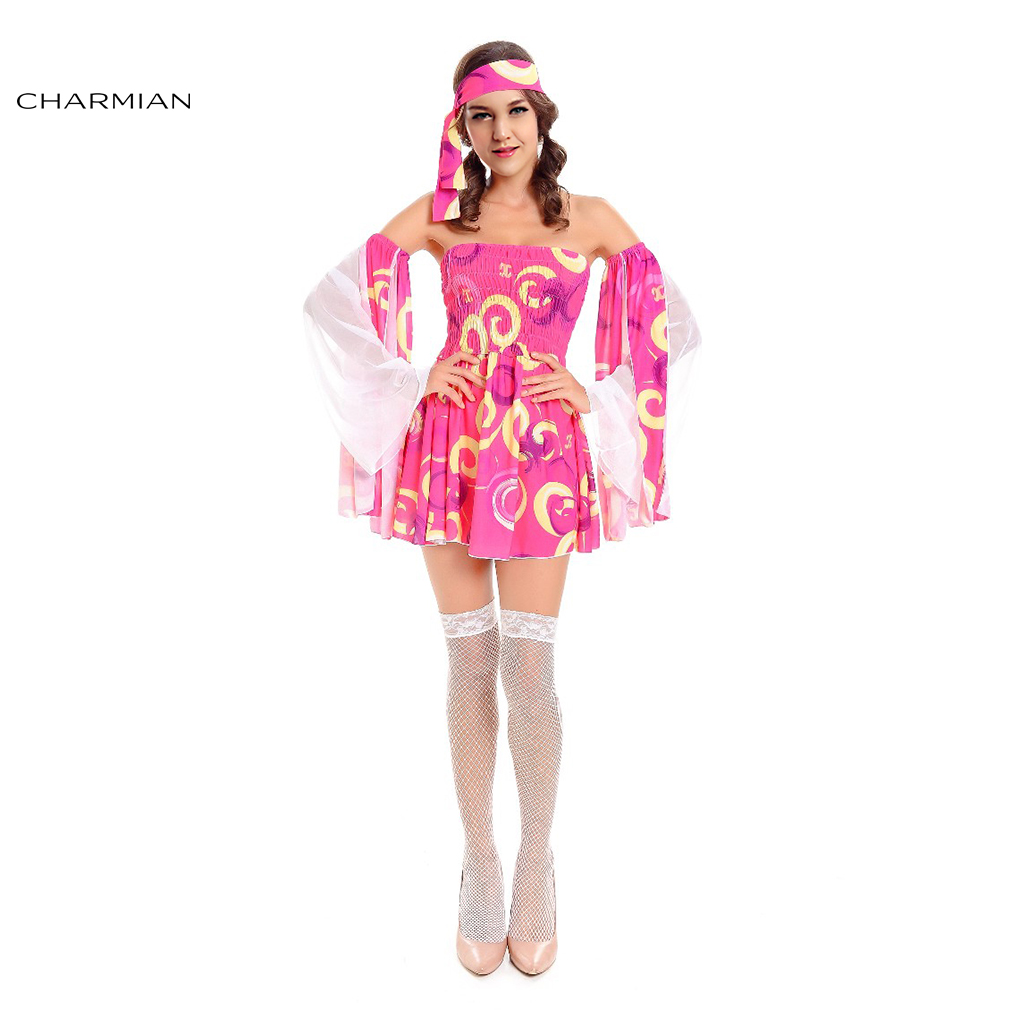 Charmian Fashion Pink Hippie Cosplay Costume for Women Adult Sexy Punk Rock Style Halloween Carnival Party Mini Dress