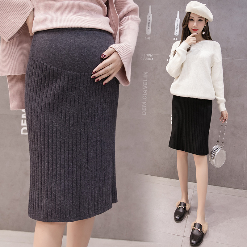 2019 Spring Autumn Korean Fashion Maternity Belly Skirts Woolen Knitted Stretch pencil Skirts Bottom for Pregnant Women costumn pencil skirt