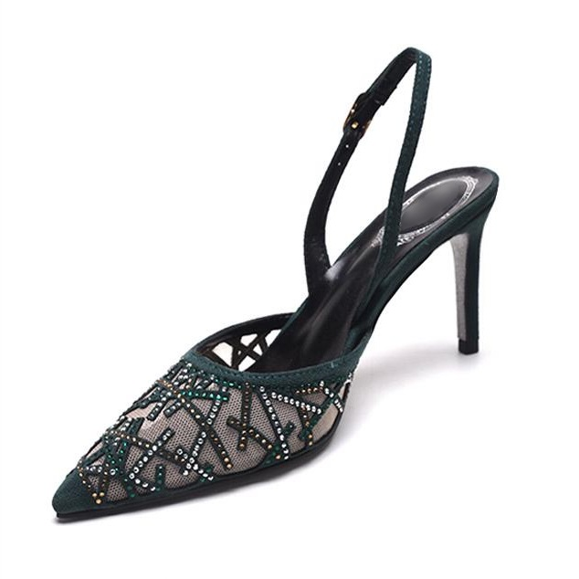 Women Shoes Slingback Crystal Mesh Sandals With Rhinestones Cut-out Low-heeled Sandals Pointed Toe Stiletto Heels Dress Shoes leisure women s sandals with rhinestones and weaving design
