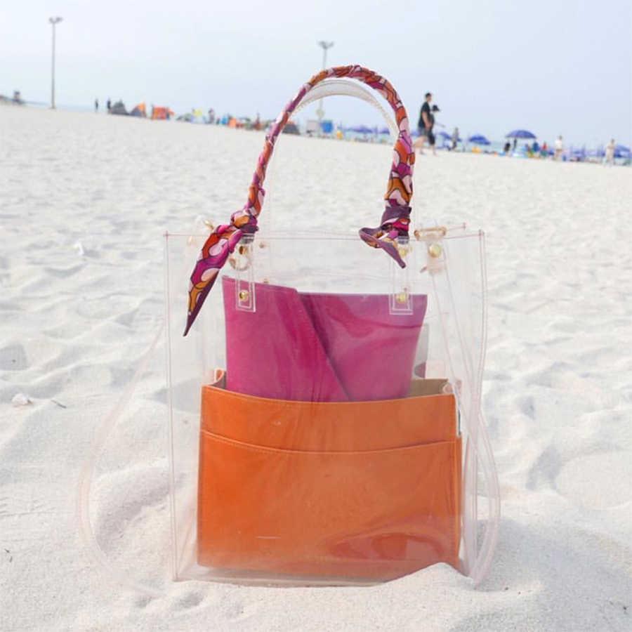 DUSUN Transparente PVC Bolsa À Prova D' Água Saco de Praia Designer de Verão de Alta Qualidade Limpar Fitas Balde Totes Bolsas De Couro Pequena
