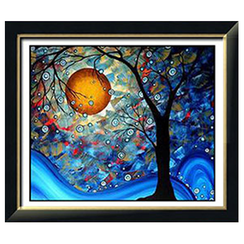 Golden Panno,Needlework,DIY DMC Cross Stitch,Sets For Embroidery Kit 11ct Printed Cotton Thread Moon Tree Cross-Stitching