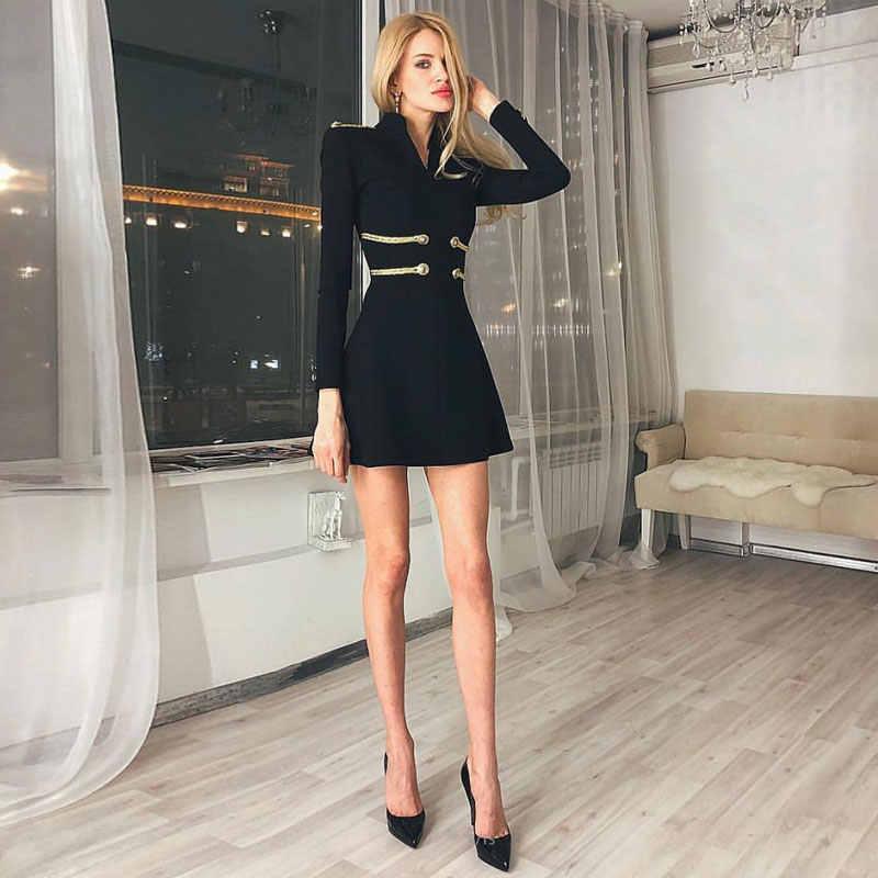 Ocstrade סקסי נשים תחבושת שמלת 2019 שחור מסיבת אונליין תחבושת שמלה חדש אופנה Emebllished ארוך שרוול תחבושת שמלה ירוק