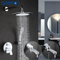 GAPPO Wall Bathroom Shower Faucet Set Rainfall Shower Faucet Bathtub Shower Tap Chrome Waterfall Big Shower