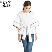 Yaomei 2017 여름 새로운 여성 블라우스 크루 넥 반 소매 화이트 셔츠 여성 블라우스 셔츠 캐주얼 Blusas