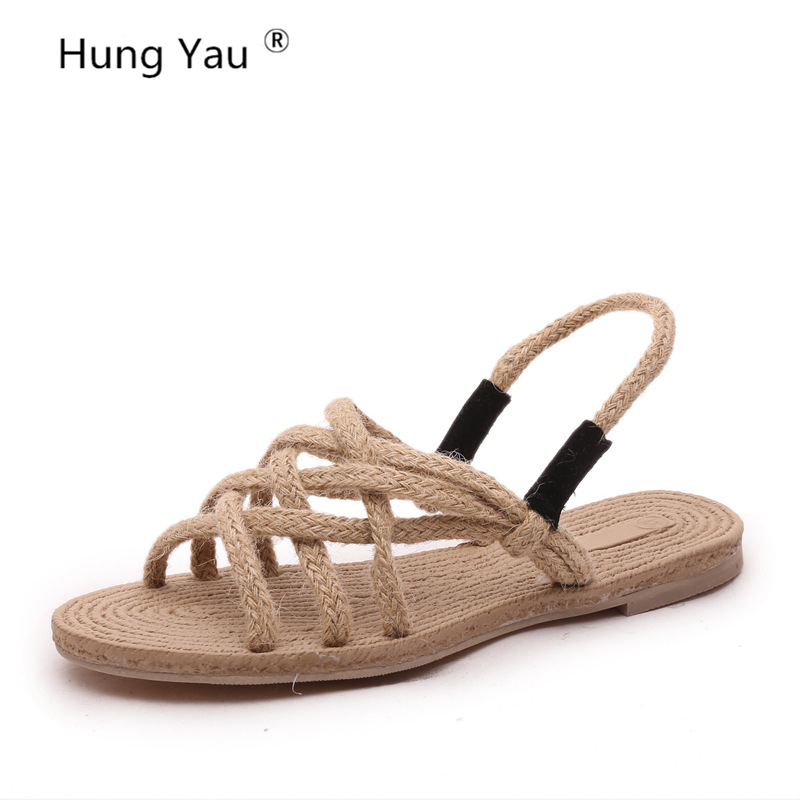 231cea86733a7 Detail Feedback Questions about Hung Yau Flat Hemp Rope Cross Tied Sandals  Shoes For Women Comfortable Strap Open Toe Ladies Casual Black Classic  concise ...