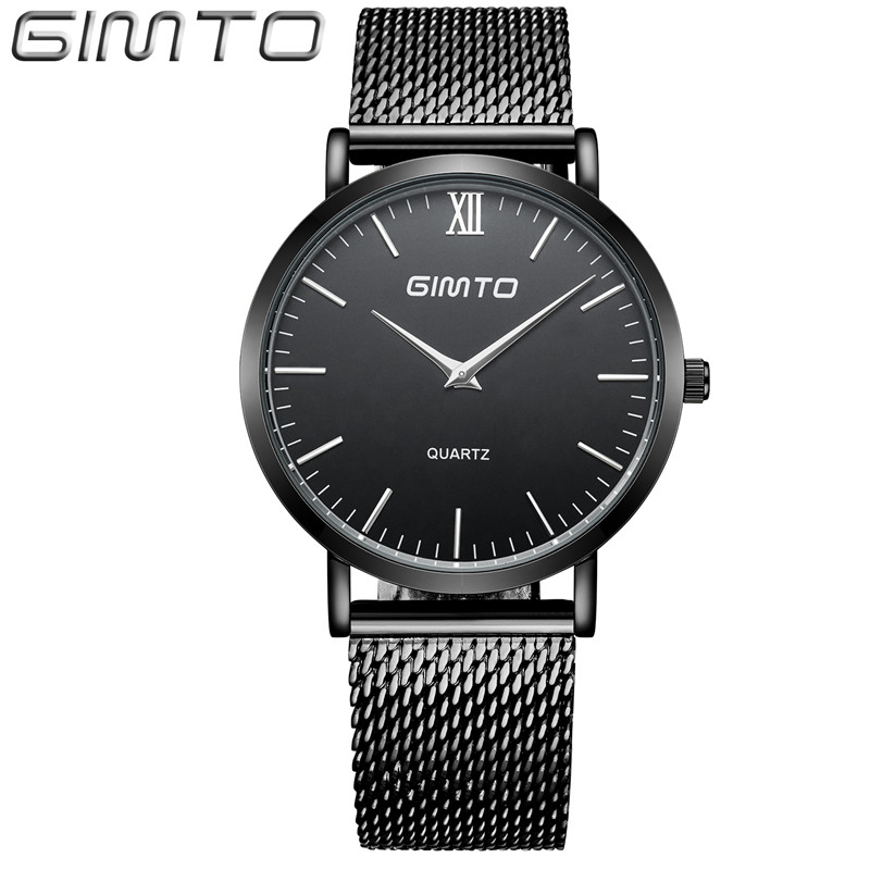 GIMTO Top Brand Watch Luxury Rose Gold Men Steel Mesh Band Business Leisure Watches