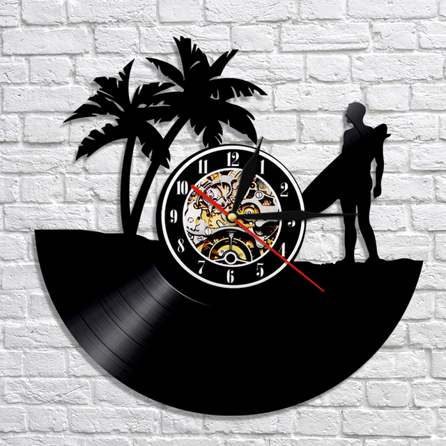 1piece surfing silhouette led light vinyl record wall clock with 1piece surfing silhouette led light vinyl record wall clock with color changing light cool living room mozeypictures Images