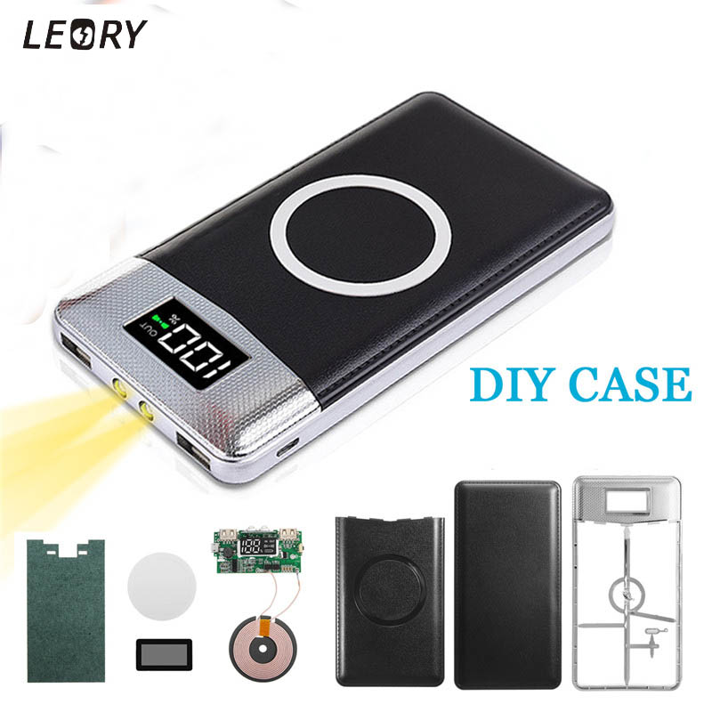 10000mAh QI Power Bank Case Aluminum DIY Wireless Charging Charger for 3 Mobile Phone LCD Display Power Supply External Battery