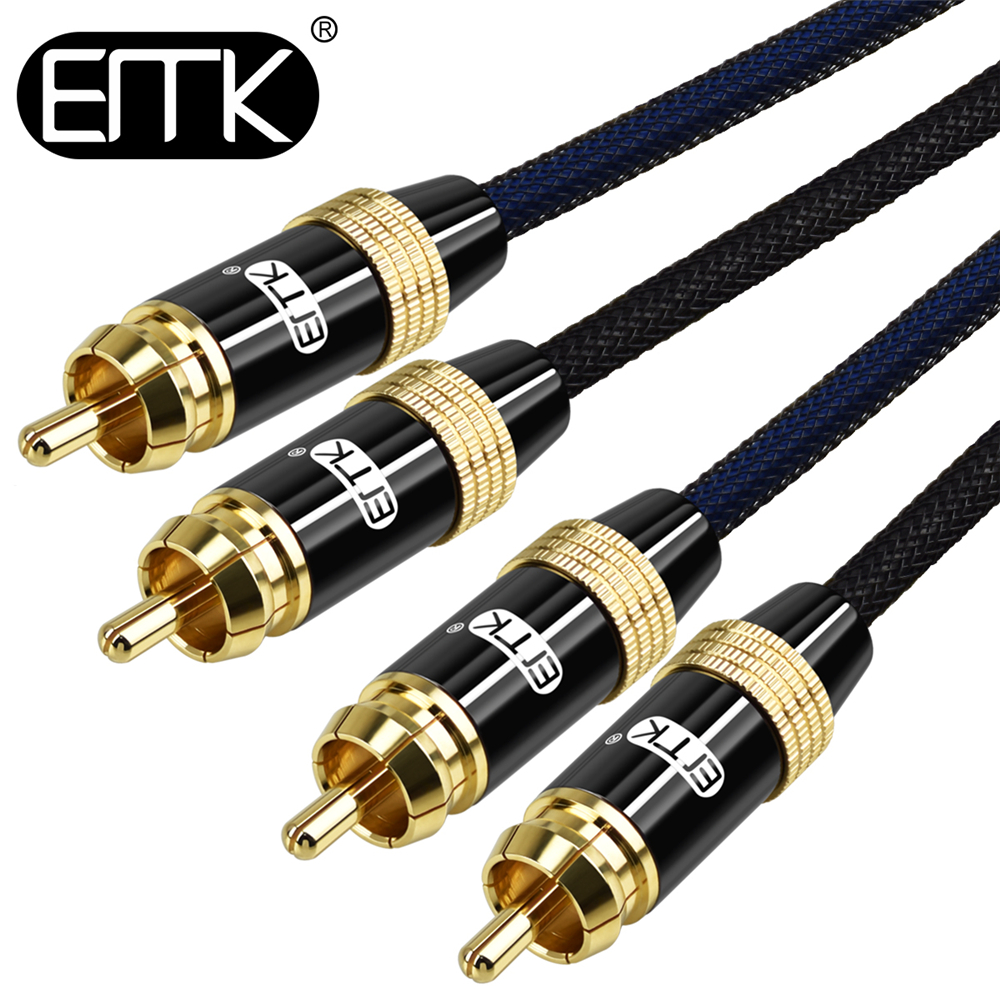 EMK 2RCA to 2 RCA Male to Male coaxial Cable RCA to RCA Audio Cable 2m 3m 5m Hifi for Home Theater DVD TV Amplifier CD Soundbox