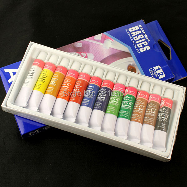 Box Set 12 Colors Nail Art Tips Paint Tubes Pigment Draw Painting