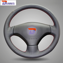 BANNIS Black Artificial Leather DIY Hand-stitched Steering Wheel Cover for Peugeot 206 2007-2009 /207 / Citroen C2