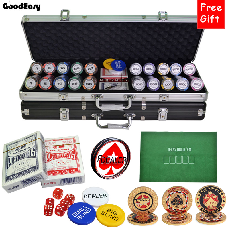 500PCS/SET 14g Casino Wheat Poker Chips set Colorful Clay Chips Texas Hold'em Chips Sets+Suitcase+Button+Table Cloth+Big Dealer 50 clay composite striped dice 11 5 gram poker chips by brybelly