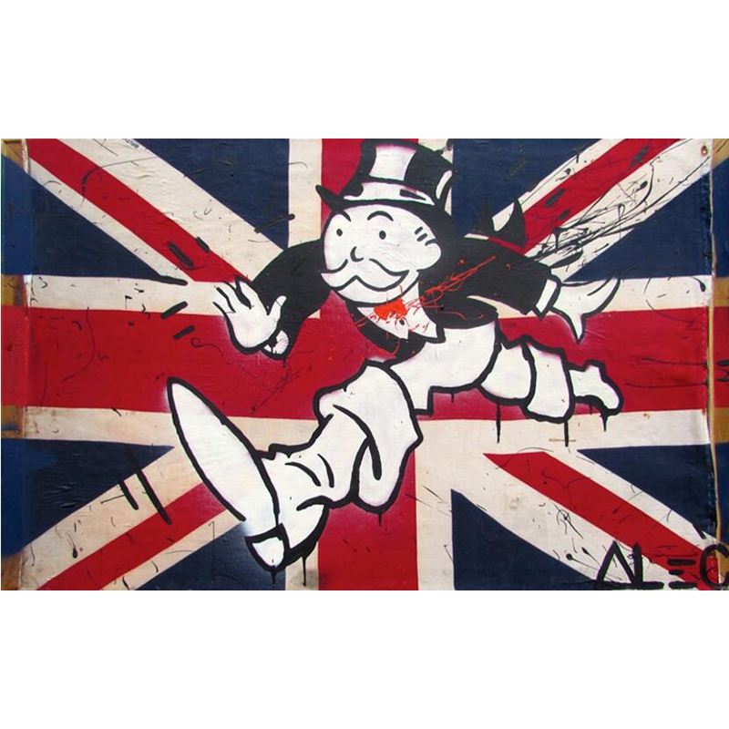 Hand Painted Modern Art Painting Alec Monopoly Union Jack Oil Painting On Canvas Living Room Hallway