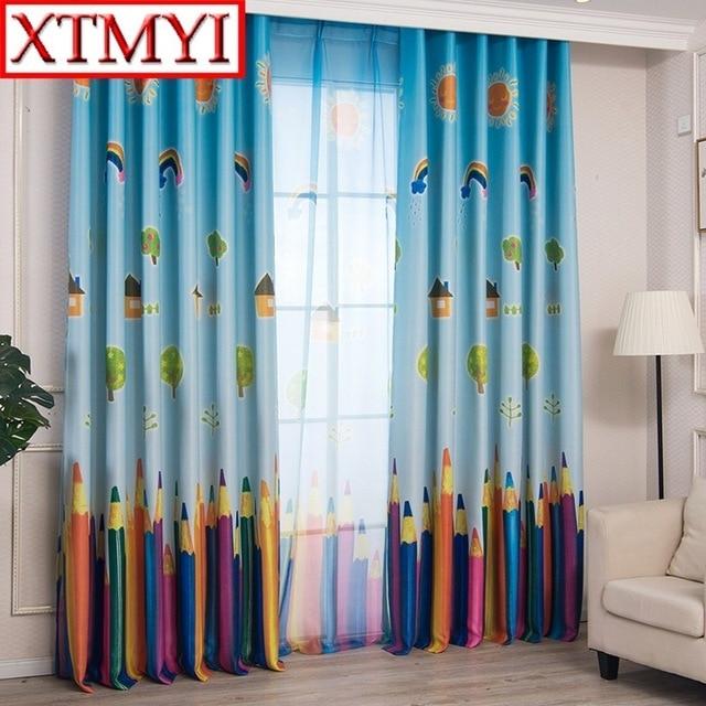 Fenster Bleistift Vorhänge Wohnzimmer Jungen Kinder Cartoon Blau Vorhänge  Sheer Kind Vorhang Schlafzimmer Kinder