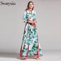 Elegant Runway Long Dress Women's High Quality Long Sleeves Fine Flower Floral Printed Turn Down Collar Long Maxi Dresses