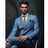 c888d6241100f Stylish Young Men Suits Summer Notch Lapel Groom Wedding Tuxedos 2 Pieces  Arm Men Party Blue