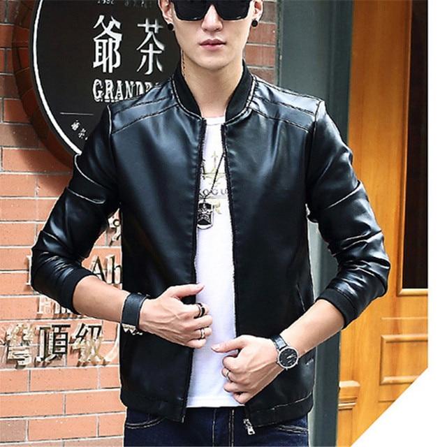 Spring Pu Motorcycle Fashion Mens Jacket Slim Korean Style Casual