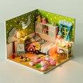 24 DIY Artesanal de madeira kit miniaturas casa de bonecas Modelo 3D criança coração & presente de aniversário e inglês instrution