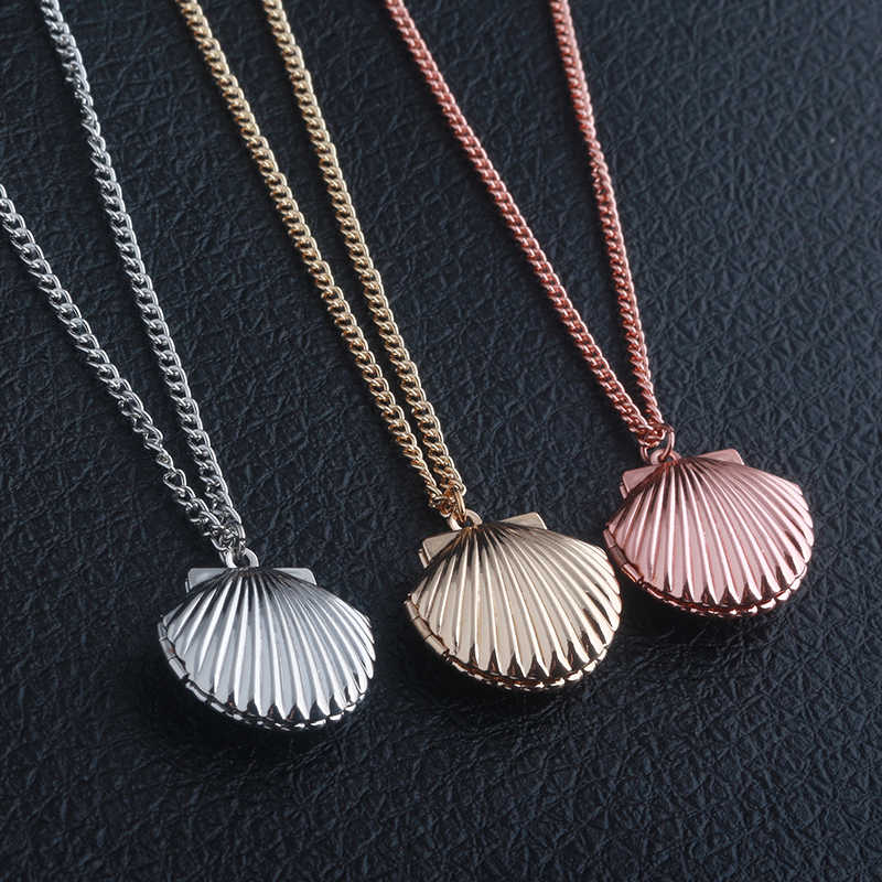 S/C 3 Color fashion jewelry movie seashell Clam Beach Mermaid Photo Locket Chain charm Necklace for women Valentine's day gift