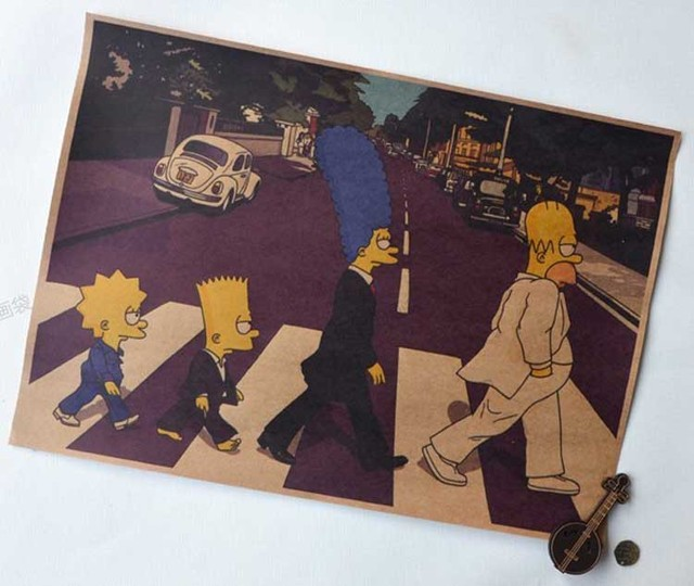 Simpson Vintage Walls Posters On the Road Cartoon