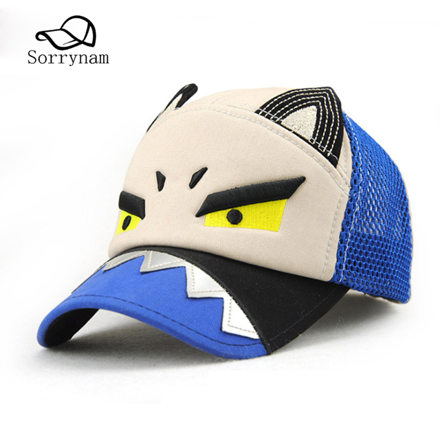 Cartoon Summer Cotton Baseball Caps Embroidery Snapback Caps Net Basketball  Hats For Kids Sun Hat Adjuagable a080ad74390