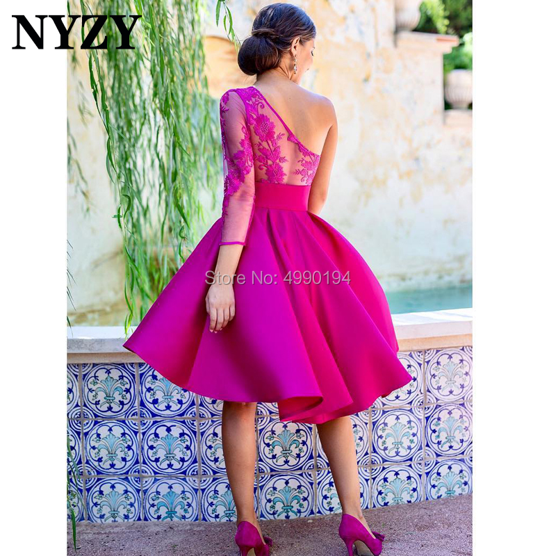 Vestido Robe   Cocktail     Dresses   NYZY C199 One Shoulder 3/4 Sleeve Fuchsia Short Satin   Dress   Party Prom Homecoming 2019