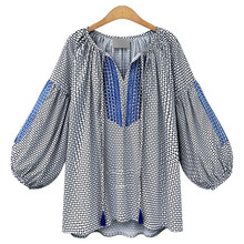 Fashion Women's Linen Blends Plaid Lantern Full Sleeve V Neck Loose Casual Shirt