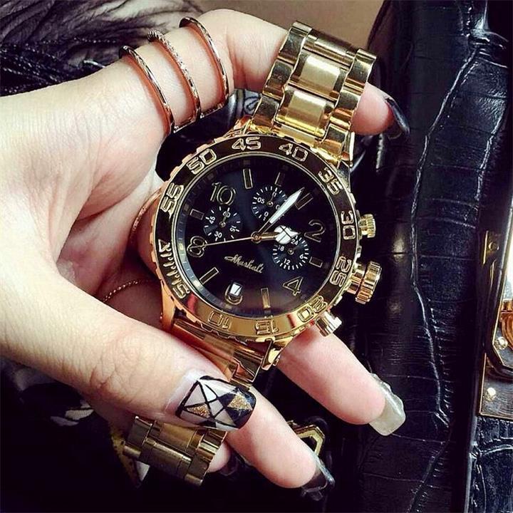 Высокое качество Для мужчин Для женщин Часы Роскошные шесть-контактный календарь Наручные часы Кристалл платье часы женский розового золо...