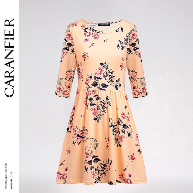 f37d302b4e50 CARANFIER Dress Vintage Chic Women Clothing Maxi Summer Long Frocks for  Ladies Print Seven-quarter Sleeve Slim Elegant New 2018
