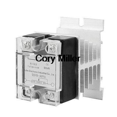 40A 25-380V AC SSR Solid State Relay Voltage Resistance Regulator w Heat Sink normally open single phase solid state relay ssr mgr 1 d48120 120a control dc ac 24 480v